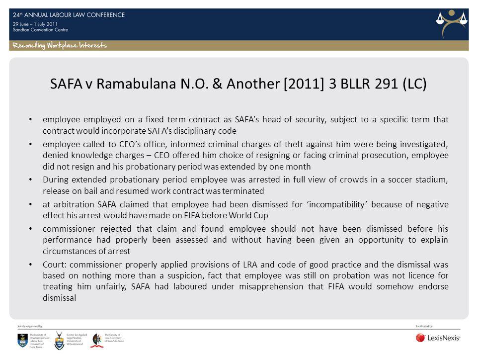SAFA v Ramabulana N.O. & Another [2011] 3 BLLR 291 (LC)